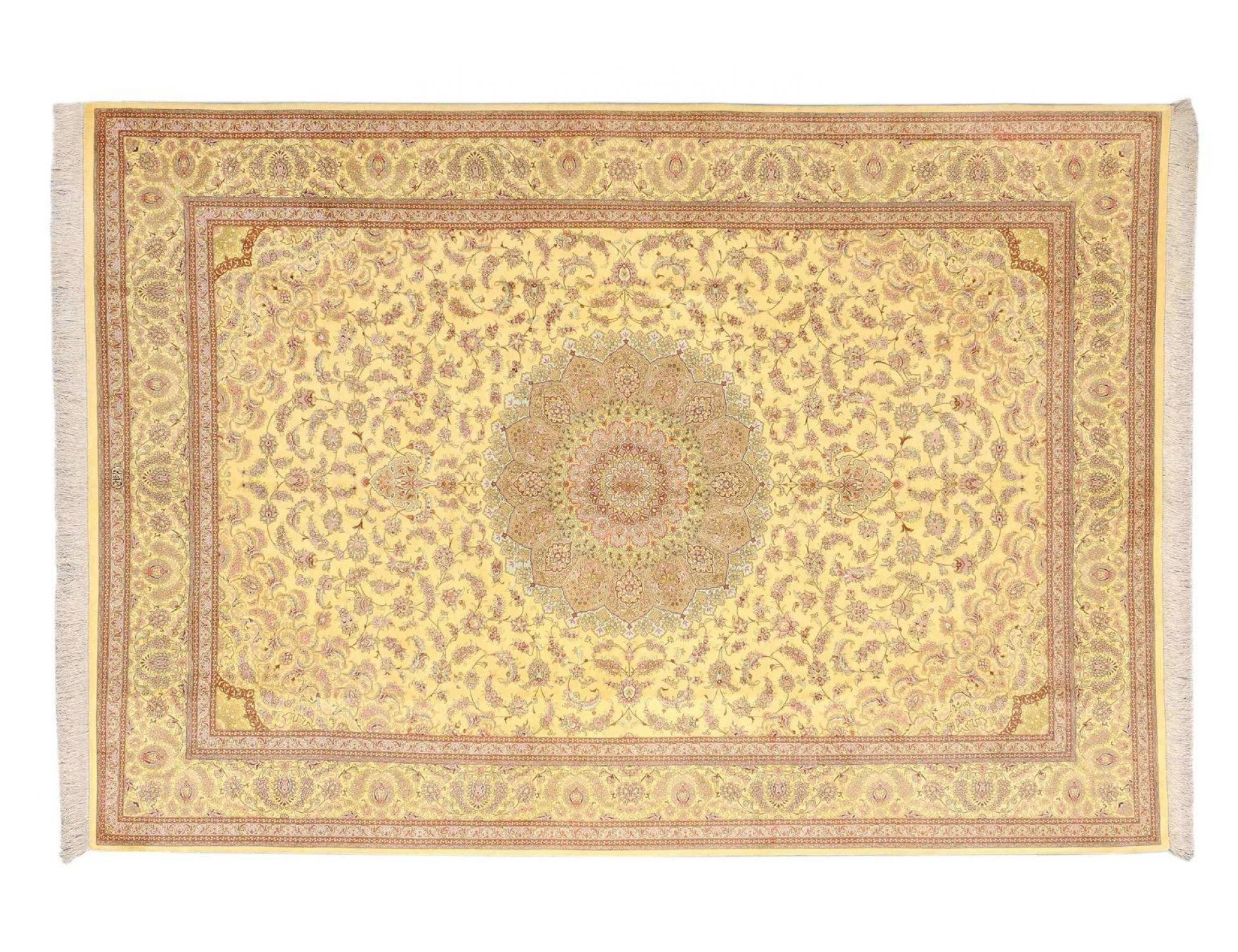 Persian silk carpet   <br/>343 x 239 cm